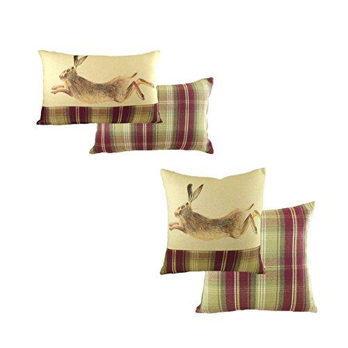 2x Evans Lichfield Springender Heather Hase handbemalt Tiere 40x 60cm Boudoir & 43,2cm Kissen (Elfenbein Boudoir Kissen)
