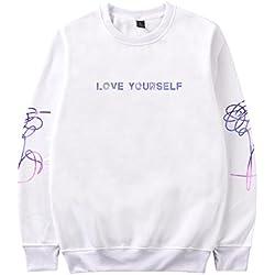 SIMYJOY Pareja Love Yourself Cielo Estrellado BTS Sudaderas KPOP Bangtan Boys Pullover Hip Hop Sudadera para Hombres Mujeres Adolescentes Blanco XL