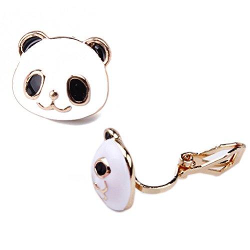 ch Gummi Zurück Clip on Niedliches Panda Gesicht Goldenes Tier für Damen Mädchen (Niedliche Halloween Gesichter)