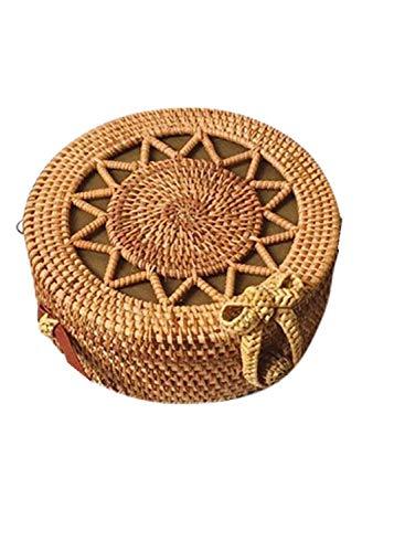 holitie Handtaschen Messenger Bag Kreis handgewebter Bali runder Retro Rattan Stroh Strand Tasche Crossbody Kuriertaschen Handtaschen Schulter Beutel Tote Beutel