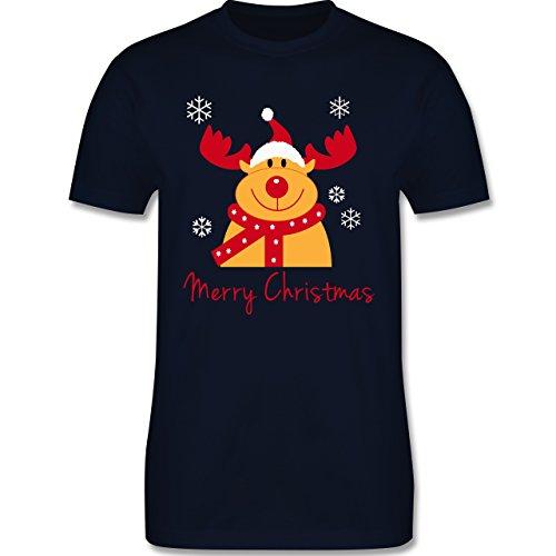 Weihnachten & Silvester - Merry Christmas Rentier - Herren Premium T-Shirt Navy Blau