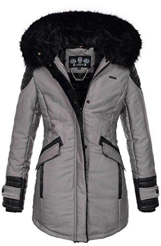 Marikoo Damen Winter Jacke Designer Parka Mantel Kunstfell Winterjacke B609 [B609-Zauber-Grau-Gr.M]