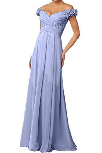 ivyd ressing Damen AB von der Spalla con fiori Chiffon abito del partito Prom abito Fest vestito abito da sera Lila
