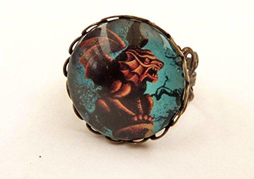 Gothic Ring in bronze mit geflügeltem Dämon
