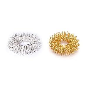 2 x Fingermassageringe Akupressur Energie-Ring Massageringe Yin Yang Gold und Silber, groß