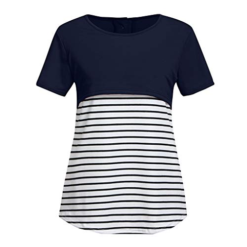 4e8cf711 iHAZA Women Maternity Short Sleeve Stripe Splicing Mom Nursing Baby Tops  T-Shirt Navy