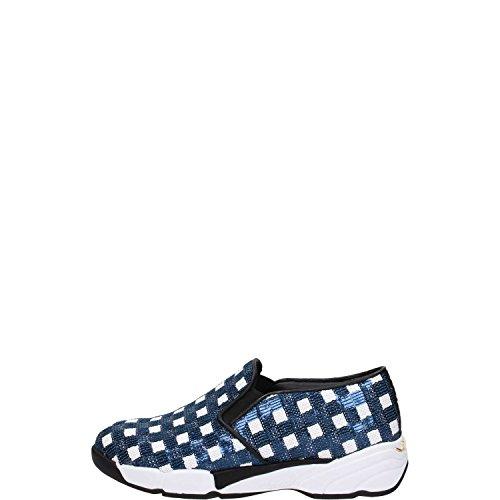 Scarpe Donna PINKO SEQUINS1H207H Y23z Sneaker tessuto ricamato Primavera Estate 2016 Bianco/Blu
