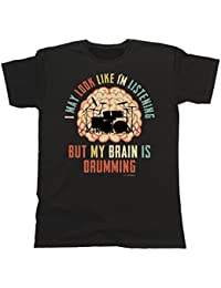 Hombre Camiseta I May Look Like Im Listening BUT My Brain is DRUMMING Música Batería