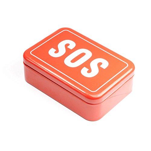 Blechbox Aufschrift SOS, SOS - Box, kleine Hilfsbox für Unterwegs, Outdoor Survival-Kit, Notfall, Selbsthilfe, SOS-Dose, Marke Ganzoo