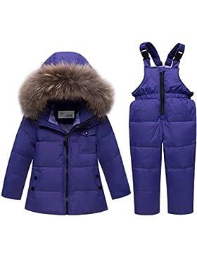 Premewish Unisex Baby Schneeanzug Set,2 tlg Daunenjacke und Schneelatzhose,Kapuze mit Abnehmbaren Plüschbesatz...