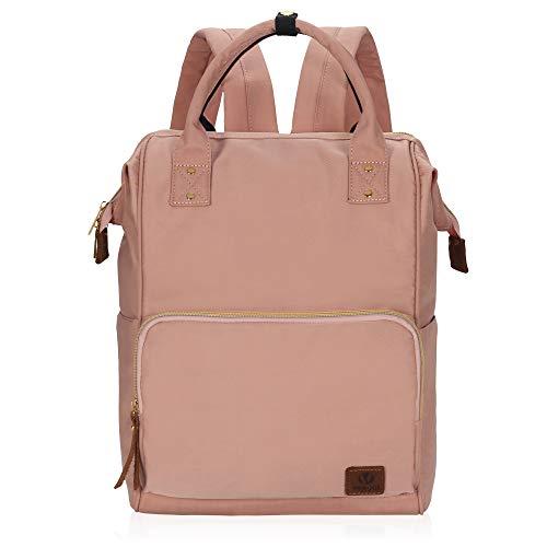 Veegul Nylon Rucksack Vintage Daypack Laptopfach für Damen Herren Rosa - Vintage Nylon Rosa