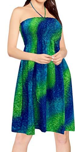 LA LEELA Le Tube Femmes Robe bohème Plage Robe de Camouflage Bleu_O894 FR Taille : De 32 (2XS) À - 46 (XL)