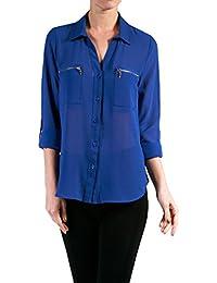 2LUV Mujer 3/4 Manga Blusa con detalle de bolsillo frontal con cremallera