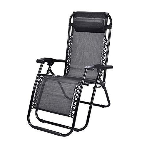 Zichen Klappstuhl Entspannender Campingstuhl Gravity Relaxing Chair, Ultralight Folding Portable Chair mit Kopfstütze, Perfekt for Zuhause/Patio/Terrassendielen/Urlaub/Strand - Schwarz