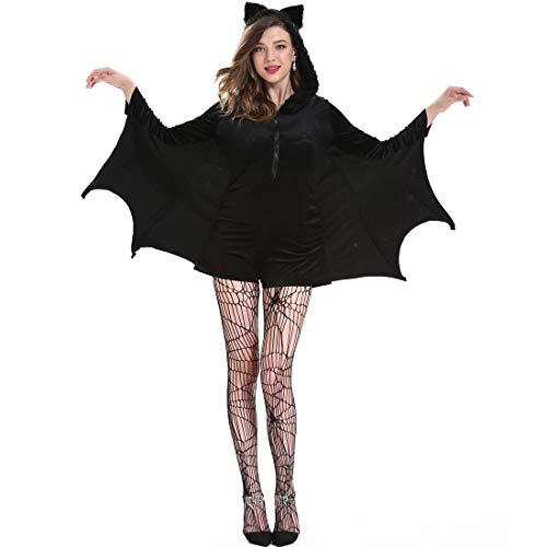 Für Plus Kostüm Batgirl Erwachsene - Dengofng Frauen-langes Hülsen-Cosplay-Kostüm-Halloween-Normallack-großes reizvolles Batgirl-Kleid-Schwarzes Plus die Übergröße genießen das Rollenspielspiel