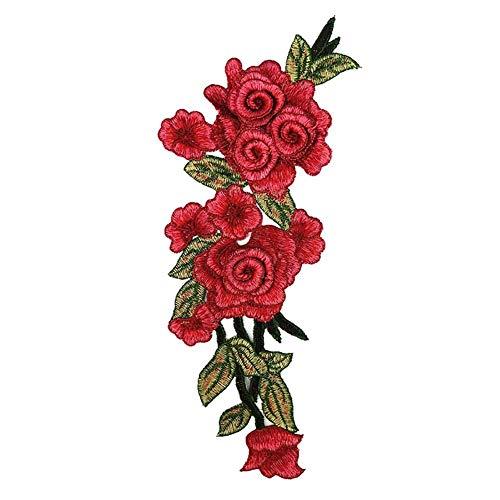 Demarkt Bunt Vessel Stickerei Seide Rose Blume Motiv Kragen Nähen auf Patch Applique Abzeichen Gestickt Büste Kleid -