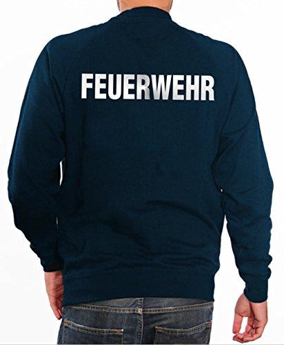 feuerwehr sweatshirt Sweater FEUERWEHR in navy mit silber reflektierendem beidseitigem Schriftzug