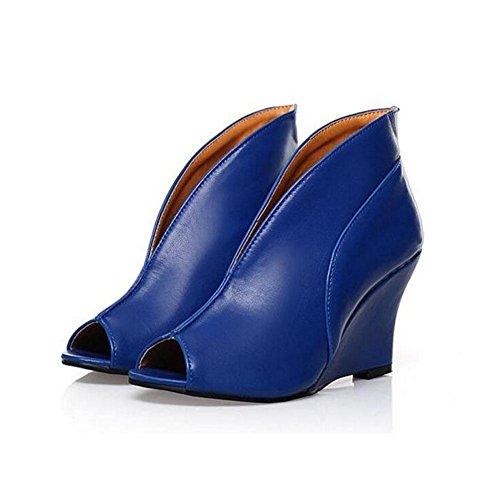 WYWQ Donna Fish Bocca Slope Heel Stivali nudi Sandali con tacco alto Party Prom Large Size 40 41 42 43 Black Blue Beige blue
