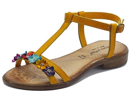 Sandali Mercante di Fiori in pelle ocra con fiori multicolore Ocra fiori multicolor