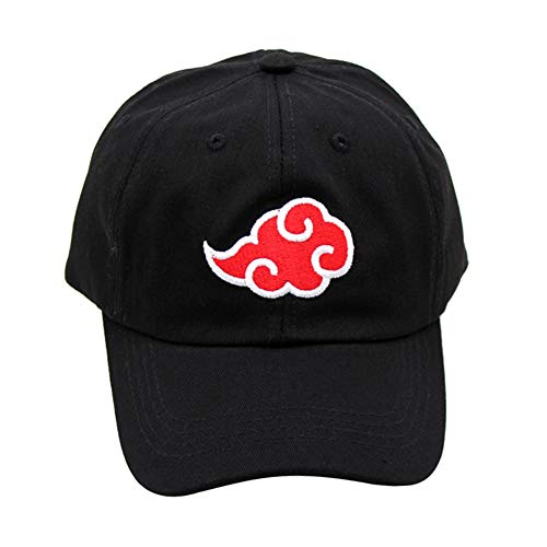 ALTcompluser Unisex Anime Naruto Baseball Cap Bestickt Akatsuki Logo Einstellbare Trucker Hat(Einstellbare Größe Schwarz)