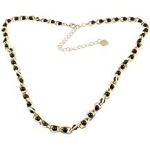 Tono de oro para mujer diseño de corazón de peluche metálico sintética de color negro Pearl Decor Curbchain cadena cintura