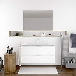 DUCHA.ES Mueble DE BAÑO SUSPENDIDO con Lavabo Espejo TOALLERO Y Aplique LED MIZAR 60 CM (Blanco Brillo)