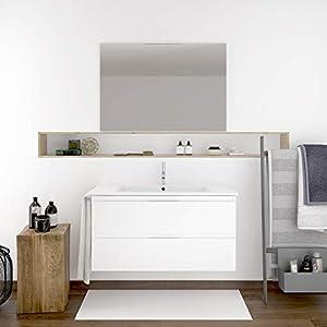 DUCHA.ES Mueble DE BAÑO SUSPENDIDO con Lavabo Espejo Y TOALLERO, (Aplique LED NO Incluido) Blanco MIZAR