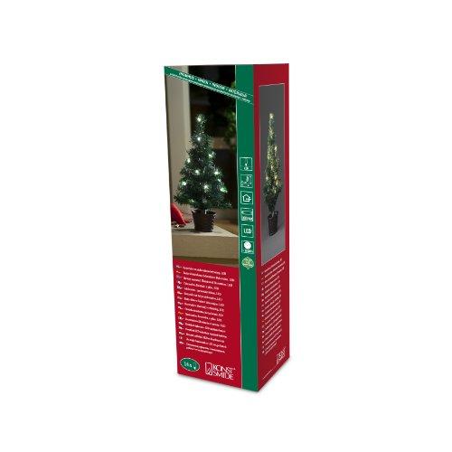 Konstsmide 3511-100 / Albero di natale LED 45cm con vaso e catena di luci / 16 diodi bianco caldi / a batteria / cavo verde