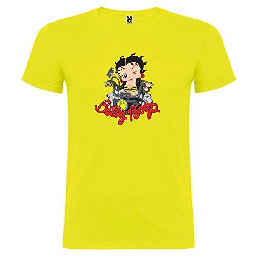 Bikerella T-Shirt Manica Corta Unisex Betty Boop Moto-Biker Giallo/Colo