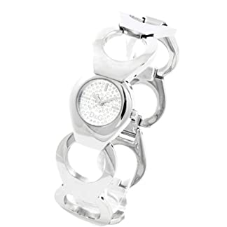Dolce & Gabbana D&G – Reloj analógico de Cuarzo para Mujer con Correa de Acero Inoxidable, Color Plateado