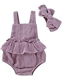 Y56(TM) Summer Toddler Kid Baby Girls Strap Ruffled Solid Color Romper Jumpsuit Bodysuit Sunsuit 6M-3Y