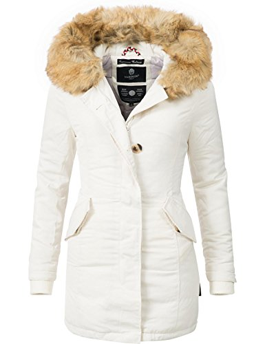 Marikoo Damen Mantel Wintermantel Winterparka Karmaa XS-XXXXXL (vegan hergestellt) Weiß Gr. M