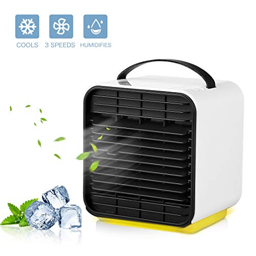 Raffreddatore D'aria Portatile Climatizzatore Mini Ventola a spruzzo USB Umidificatore ad Vento Fredda con Luce Notturna e Funzione di Ricarica 3 Velocità Silenzioso Può Aggiungere Olio Essenziale
