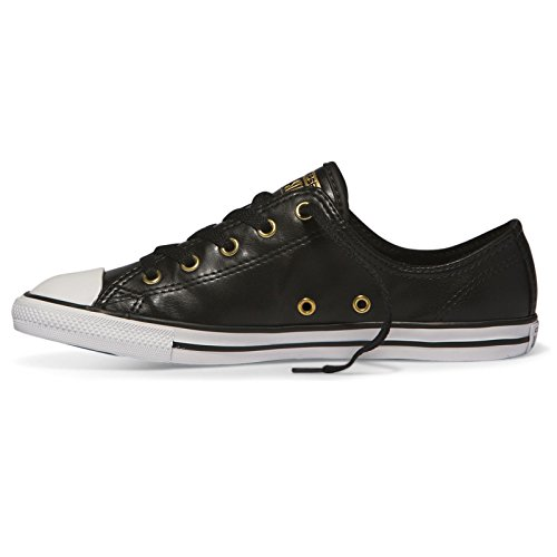 Converse Womens CT All Star Dainty Low Top Synthetic Trainers Black/Gold/White