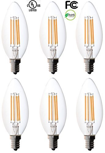 Filament Kandelaber LED Leuchtmittel, bioluz LED, klar filament, E12Sockel, C37Hohe Effizienz, 360° LED Kerze Leuchtmittel -
