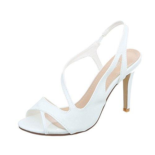 Ital-Design High Heel Sandaletten Damenschuhe Pfennig-/Stilettoabsatz Heels Sandalen Weiß