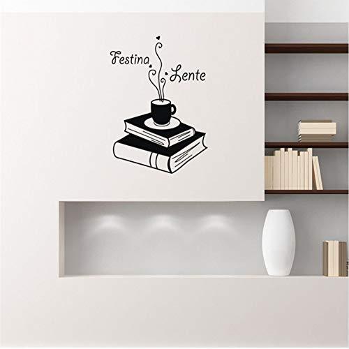 Mhdxmp Festina Lente Zitat Wandtattoo Buch Kaffee Abnehmbare Vinyl Wandaufkleber Wohnkultur Schlafzimmer Kunst Wand Tattoo Coffee Shop42 * 55 Cm
