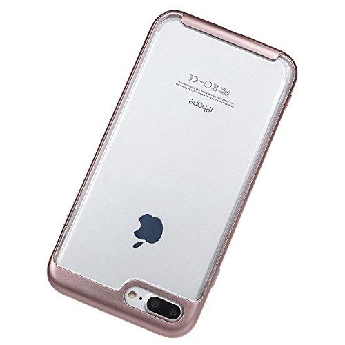 """Housse pour iPhone 7 Plus, xhorizon TM MLK Housse Fine 2 en 1 Transparent Prise Renforcée Coussin pour iPhone 7 Plus [5.5""""] avec 9H film de protection verre trempée Or rose +9H Glass Tempered Film"""