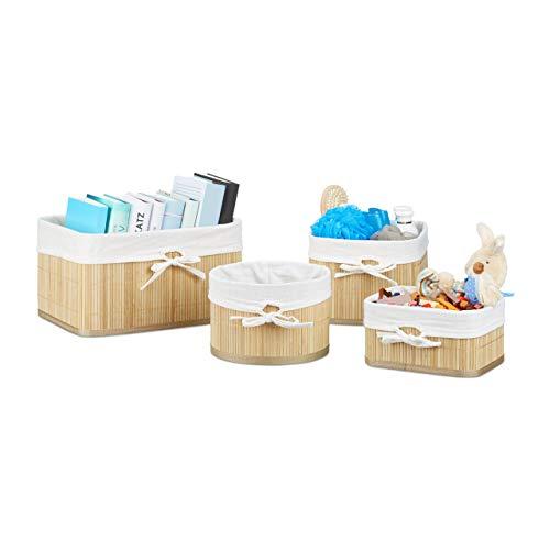Relaxdays 10021786 set cestini portaoggetti, bambú, marrone, 22x32x17.5 cm