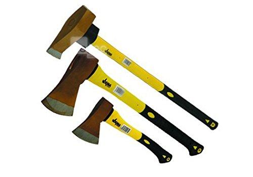 Beil Spaltaxt Axt Set 3 tlg Spalthammer holzspalter Hackbeil 600 g 1250 g 3000 g, ein gutes Handling der Griffe aus Fiberglas und hervorragende Verarbeitung