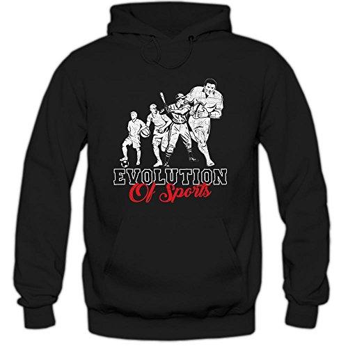 Shirt Happenz Football Evolution Hoodie | Herren | Sports | Football | Baseball | Basketball, Farbe:Schwarz (Black F421);Größe:M