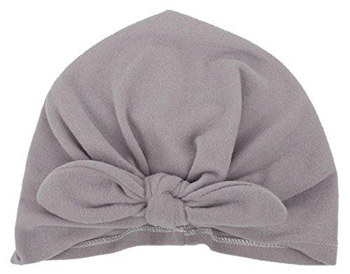 7d63b689cd7 GEMVIE Bonnets Enfant Bébé Hats Oreille Couleur Uni Chapeau Fleur Bowknot  Gris