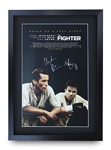 ter A3 Gerahmte Signiert Gedruckt Autogramme Bild Druck-Fotoanzeige Geschenk Für Christian Bale Mark Wahlberg Filmfans ()