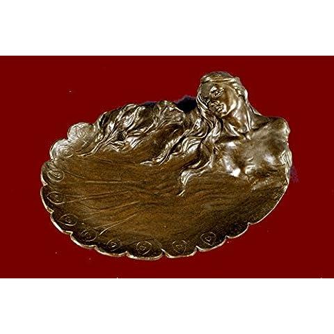 Escultura bronce estatua...Envío gratis...Arte Nouveau plato del metal por bandeja joyería Angles(XNCH-2845B-JP)Estatuas estatuilla estatuillas desnuda Oficina y Decoración del hogar Coleccionables Pr