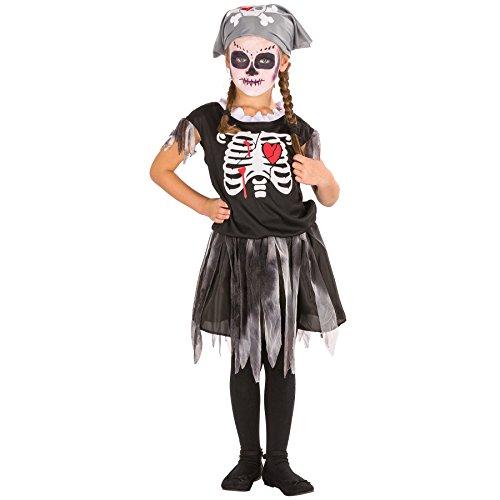 Für Zombie Kleine Mädchen Kostüm - TecTake dressforfun Süßes Kinder Girlie Piraten Skelett Kostüm mit Kopfbedeckung (8-10 Jahre | Nr. 300002)
