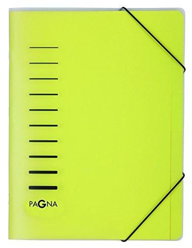 Pagna 40056-05 Ordnungsmappe 6-teilig aus PP, Eckspanngummi, gelb farbiger Registerkarton