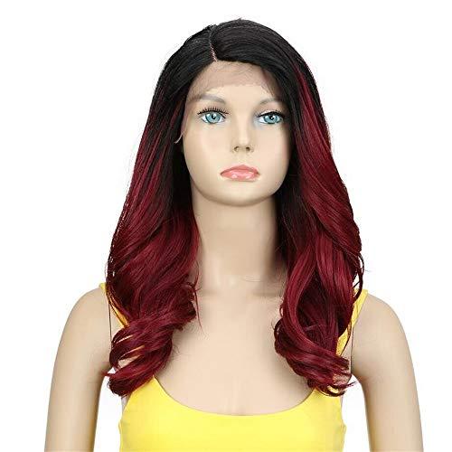 Kostüm Homme Noir - Synthetische Perücke für Schwarze Frauen Trendy Lace Front Perücke Lose Welle Synthetisches Haar 20 Zoll Ombre Haar Synthetische Lace Front Perücke,Rot