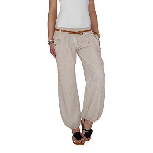 DB Damen Sommerhose mit Stoffgürtel (One Size, Beige)