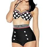Boolavard Maillot de Bain rétro Maillot de Bain Vintage Cutest Pinup Rockabilly Taille Haute Bikini Set Maillot de Bain Noir Blanc Rouge S/M/L/XL (M: (36-38), Ensemble Blanc et Noir/Rouge)
