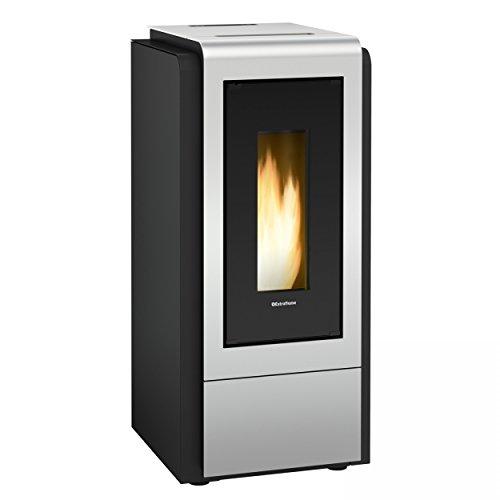 termostufa A Pellet \'Megan Idro Steel\' Termo. Bezug aus Stahl lackiert. Doppelt gehärtetem Glas Keramik Innen und Außen. Schublade für Ascheauffangbehälter, Wärmetauscher A Abstrahlwinkel tubiero mit turbolatori. Thermostat-Sicherheit, Pumpe-C